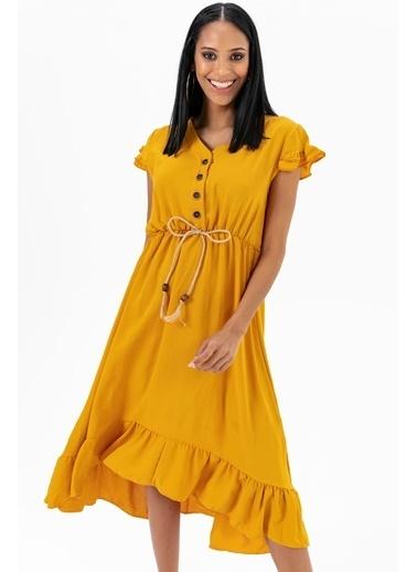 Emjey Eteği Kloş Uzun Elbise Hardal